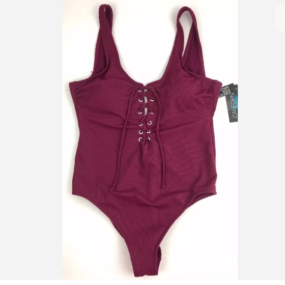 California Waves Other - Sexy Cheeky lace up wine color one piece swimsuit